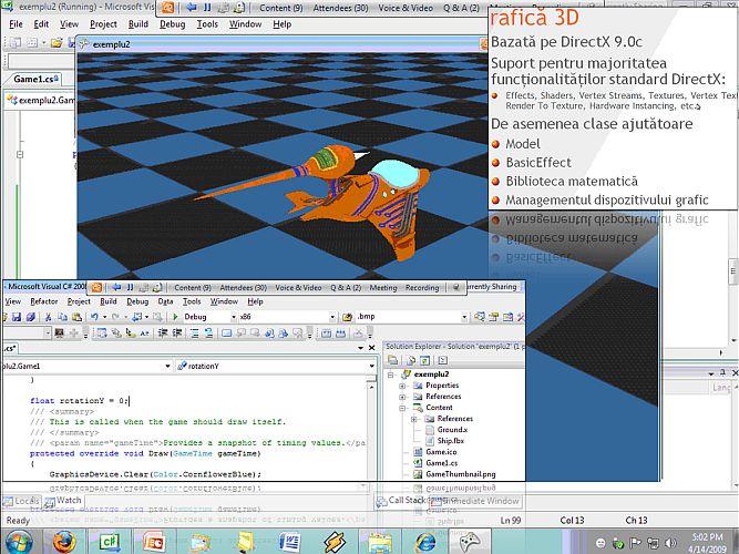 Instantaneu din prezentarea on-line privind dezvoltare de jocuri cu XNA susținută de Cătălin Zima