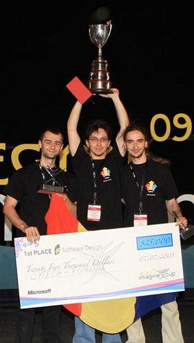 Cupa Imagine Cup 2009 câștigată de echipa Sytech (Andreas Resios, Adrian Buzgar, Călin Juravle)