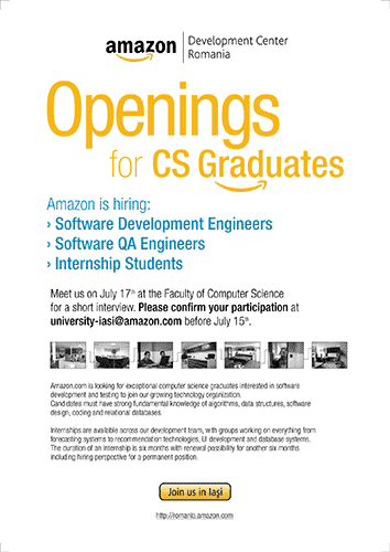 Amazon Development Center Romania: Openings for CS Graduates