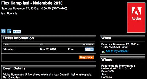Adobe Flex Camp 2010 la FII: 27 noiembrie, 10h, C309