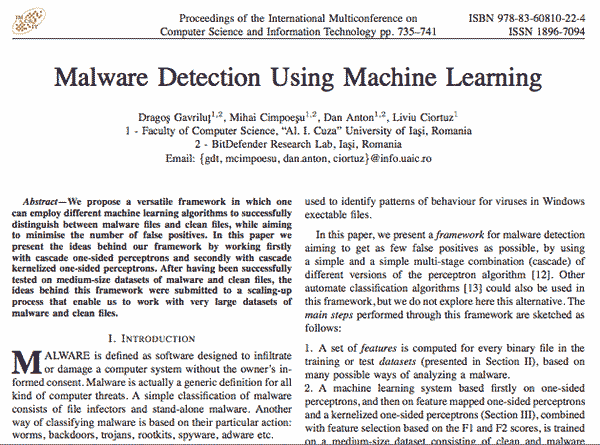Malware Detection using Machine Learning