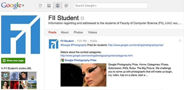 FII Student pe Google+